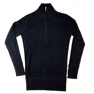 TORY BURCH Black Silk Sweater Size SMALL Hi Neck